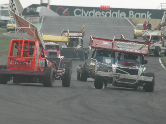 Stationary and facing the wrong way on the fastest part of the track isn't the best position to be in. But I got a great view of the racing. (Photo: Chris Clark)