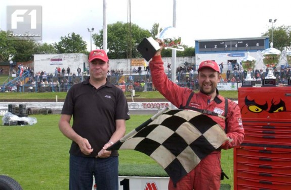 Andy Smith celebrating winning the Scottish Championship three times in a row. Photo courtesy Colin Casserley