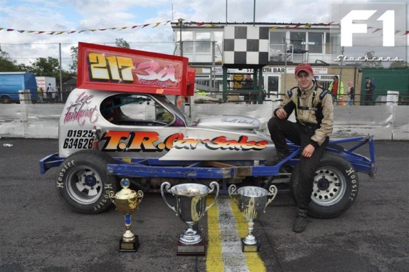 A proud Lee Fairhurst with his winning car and trophies. Photo Chris Clark.