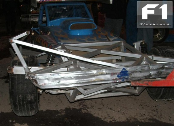 Damage to the #515 car (#347 car used) following impact to Armco. Photo Stephen Cording.