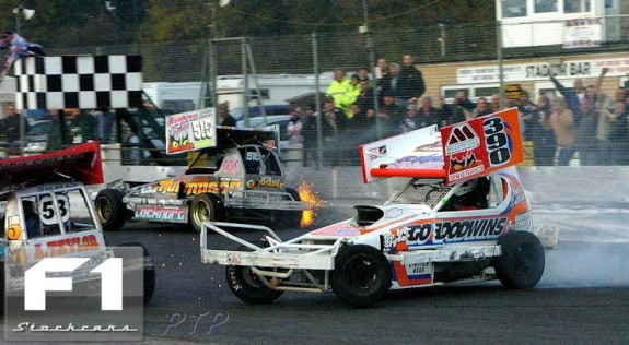 Stuart is Spun by Frankie on the exit of turn four!. Photo Paul Tully.