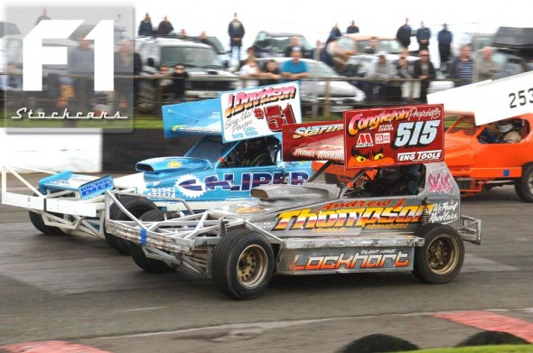 BriSCA F1 stock cars Dylan Williams Maynard 51, Frankie Wainman jnr 515 and Rob Braithwaite 253.