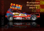 European Champion Mick Sworder (150) BriSCA F1 Stock Car Technical Illustration Poster