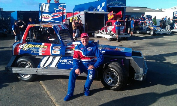 Frankie Wainman and his NZ 'Tank'. Photo Thanks to Frits Van Dis.