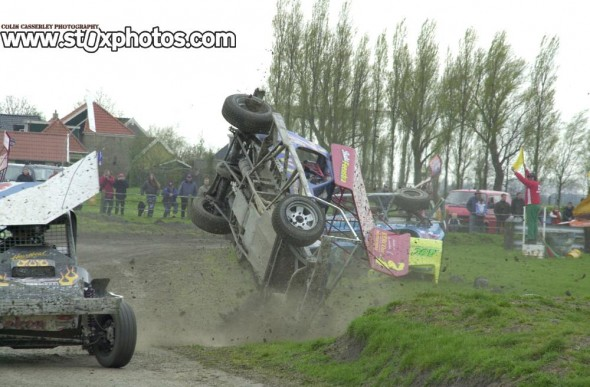 Type of action that made trips to Holland a lot of fun, two cars  upside down in separate incidents!