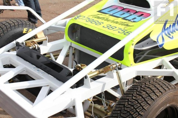 The inboard front suspension devised by Ricky and Rob Mitchell.