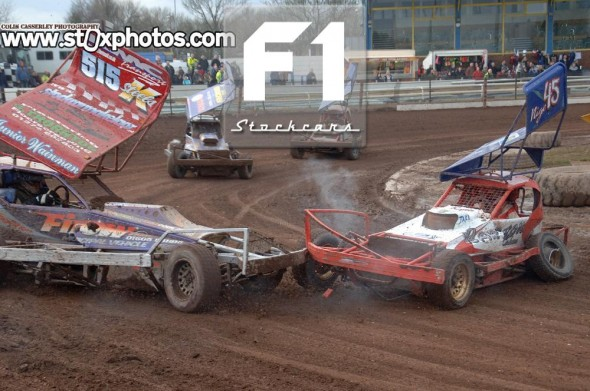 Frankie Wainman Jnr 515 runs into Nigel Harrhy 45. Photo Colin Casserley