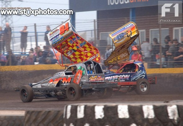 Two cars, four roof colours..... Tom Harris, National Points and European Champion, and Lee Fairhurst, World and British Champion.