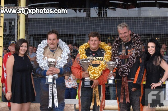 The top three on the podium - runner up Paul Hines, winner Ryan Harrison, and third place Mick Sworder.