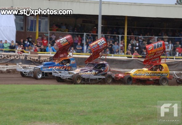 The rolling lap. Paul Harrison's lead lasted only the length of the home straight.