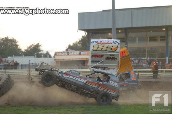 Steve Whittle launches himself over a marker tyre.