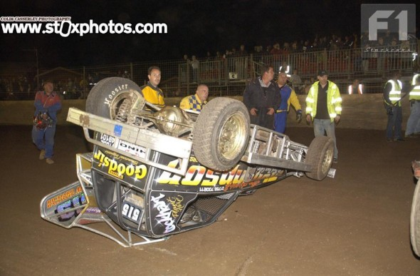 This Friday night rollover was not the best start to the World Final weekend for Frankie Wainman Junior.