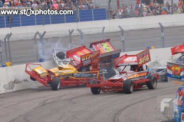 Ron Kroonder and Danny Wainman clatter the fence.