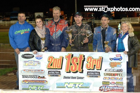 Top three in the main event. Mick Sworder, Dan Johnson, Craig Finnikin, with some of the meeting sponsors.