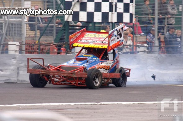 Mick Sworder taking his tyres to the limit... and then some.