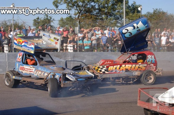 Mal Brown on the tarmac, and getting stuck into Dutch Points Champion Evert van der Berg.