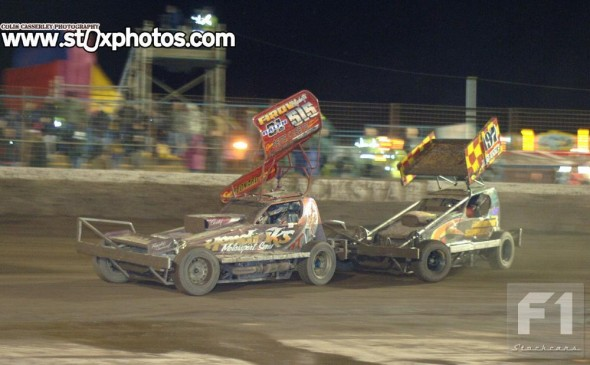 Frankie and Ryan both used their tarmac cars, although for different reasons. Frankie's shale car has a blown engine, whereas Ryan was saving his shale car for the Shoot Out final at Sheffield.