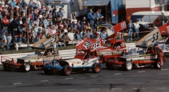 Frankie Wainman and Ian Higgins on the front row of the 1988 World Final. [MD]