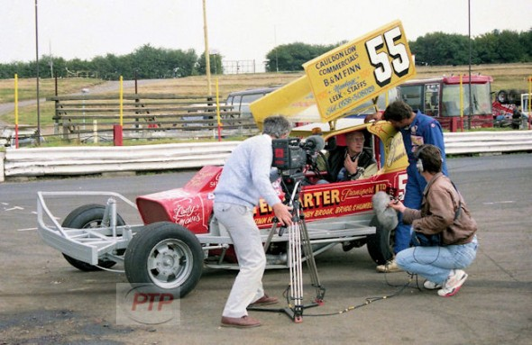 Bert Finnikin and his immaculate Clive Lintern built car in an interview at Hednesford a few days before the 1991 World Final.