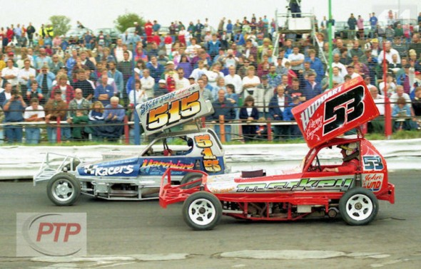 John Lund and Frankie Wainman Junior on the front row of the 1995 World Final. [PT]